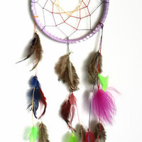 Dream Catcher, Small 5 inch dreamcatcher, Purple Feathered Wall Art, Home Decor, Native American style, Ornament, Dorm Decor