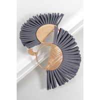Brushed Gold with Gray Leather Fringe Earrings