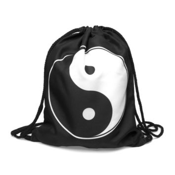 Drawstring Backpack in yin yang oriental pattern in black color for cheap drawstring