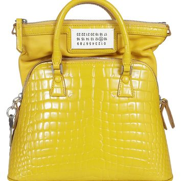 Yellow Leather Shoulder Bag by Maison Margiela