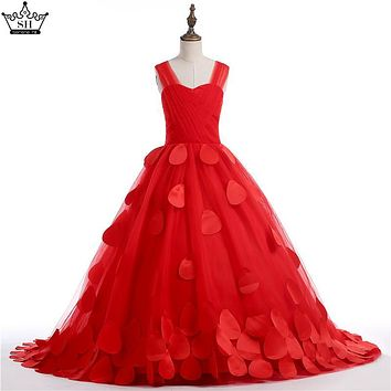 Red Rose  Petal Flower Girl Dresses first Communion Dresses For Girls  pageant dresses for girls  2017 Real Picture Serene Hill