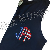 American FLAG Circle Monogram Comfort Colors Tank - 4th of July