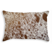 "12"" x 20"" Brown and White Cowhide Pillow"