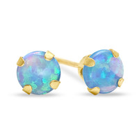 5mm Lab-Created Blue Opal Stud Earrings in 10K Gold -  - View All - PAGODA.COM