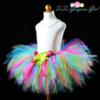 Girls Birthday Ribbon Tutu...Turquoise, Hot Pink, Yellow, Lime...12 inch length...Sizes 2T to 7/8 . . . BIRTHDAY SURPRISE TUTU