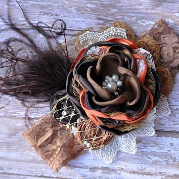 Fall Leaves boutique headband-photo prop-fall wedding-autumn celebrations-thanksgiving-family portraits-newborn to adult-vintage inspired