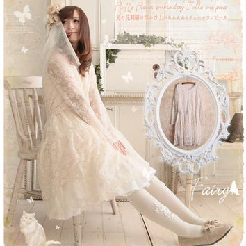spring dress lace long sleeve rull embroidery cute mori girl lolita patchwork linen cotton Japanese style robe femme bohemia