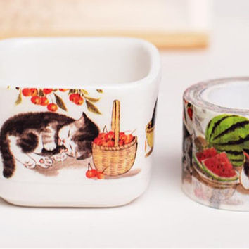 Cute Cat Washi tape 10M EXTRA WIDE meow meow washi tape watermelon cat basket cozy cat fat cat sticker tape cat planner diary scrapbook gift