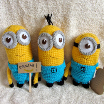 Amigurumi Minion, Cute Minion from Movie, Crochet Minion Toy, Yellow and Blue, Cute Gift