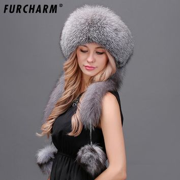 Women winter fur hat genuine fox fur hats with 2 Pompons Whole Fox Tail Russian Winter Outside Warm Mongolian female caps