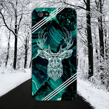 Dark Green x Black Marble Deer x White Stripes Case, iPhone 7, iPhone 7 Plus, Tough iPhone Case, Galaxy S7, Samsung Galaxy, CASE ESCAPE