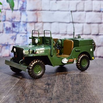 Large Scale Full-Iron Handmade Model Car - Military WWII US Army Willys MB - 🎖️🇺🇸🦅🔫💣