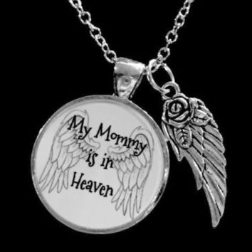 My Mommy Is In Heaven Guardian Angel Wing In Memory Remembrance Necklace