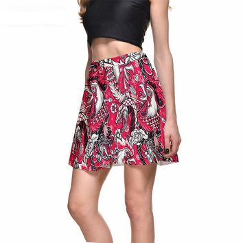 Rooster and Snake Red Skirt