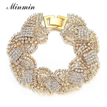 Minmin Gold/Silver Color Tassel Bracelets for Women Clear Crystal Wedding Bridal Jewelry African Beads Bangles Party Gift SL076