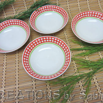Rosenthal Casual Bowls Orchard Collection, Made in Germany, Set of 4, Designers Guild China, white red green Vintage FREE SHIPPING 110