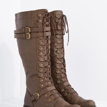 Brown Washed Lace Up Riding Boot By Wild Diva | Riding Boots | rue21
