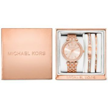 3d4b10f4744a Michael Kors Women s Mini Darci Rose Gold-Tone Stainless Steel Bracelet  Watch Gift Set