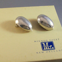 Vintage Mignon Faget Sterling Pecan Earrings with Box, Clip On