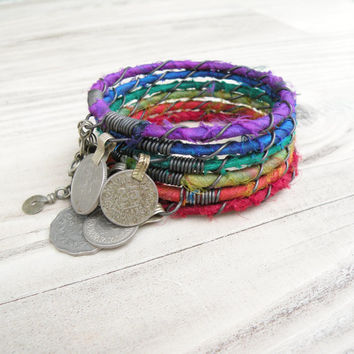 Silk Road Bangle Stack - Rainbow - 6 Piece Bohemian Bracelet Set, Gypsy Tribal, Silk Wrapped