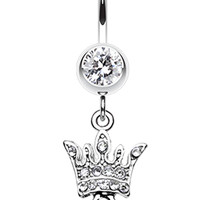 Queen Glass-Gem Belly Button Ring