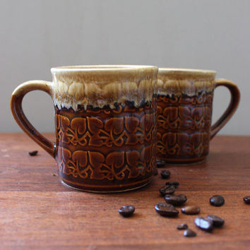 Autumn Cocoa. Pair of 1970s brown drip stoneware mugs.