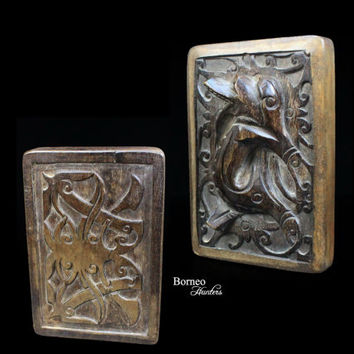 "Tattoo Ink Block From Dayak Iban Borneo 3.7x5.5""Primitive Tattoo Design Wood Stamp 'Jelenga Udun' Status Symbol,Noble Status (ONE PIECE)"