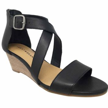Lucky Brand Jenley Black Wedge Sandals