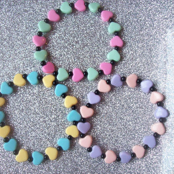 Fairy Witch II - Pastel Hearts Stretch Bracelets - Set of 3