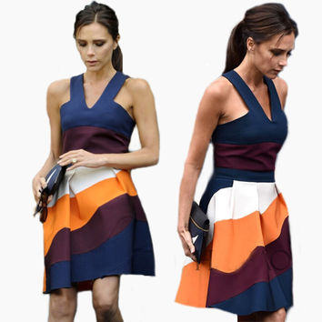 Victoria Beckham Sleeveless A-line Casual Patchwork Dress