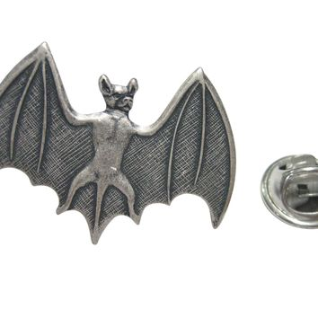 Silver Toned Bat Lapel Pin