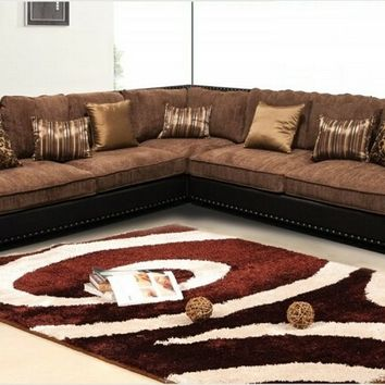 3 pc Carnelian collection two tone golden brown fabric and espresso faux leather upholstered sectional sofa with nail head trim