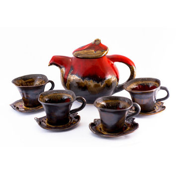Set cups red tea coffee ceramic stoneware pottery kettle teapot   - unique handmade created with love to enamel colours