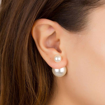 Pearl Ear Jacket • Double pearl earring • Front and Back Earrings • Bridal pearl earrings • Wedding pearl earrings • 0093EM