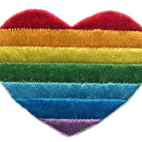 LGBT Gay Lesbian Bisexual Rainbow Heart Patch