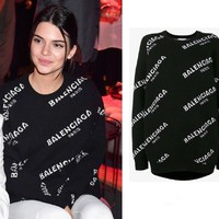 """Balenciaga"" Fashion Letter Print Loose Long Sleeve Knitwear Medium Long Section Knit Sweater"
