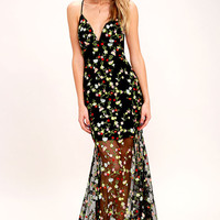 Whimsy Daisy Black Embroidered Maxi Dress