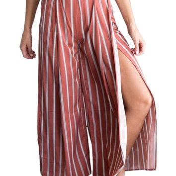 Reddish Brown Striped Split Wide Leg Culotte Pants