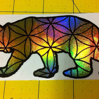 "The sacred California bear  (Cali) die-cut decal sticker (4.5""x2"")"