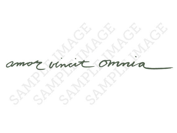 amor vincit omnia latin calligraphy from tatzarazzi on etsy. Black Bedroom Furniture Sets. Home Design Ideas