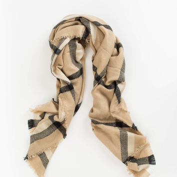 Elaine Beige and Black Plaid Scarf