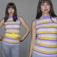 Vintage 60s 70s ZIG ZAG Print Top / Pastel Purple + Yellow Horizontal Stripes / Wave Print Sleeveless Knit / Mod, Groovy Tank / S M