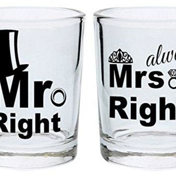 Wedding Shot Glasses Mr Right and Mrs Always Right Funny Wedding Gift for Newlyweds Couples Gift Shot Glasses 2Pack Square Shot Glass Set Black