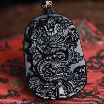 Buddhist Carved Dragon Obsidian Necklace