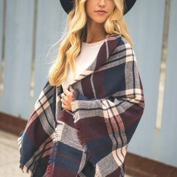 Lucky Duck Plum Drops Plaid Blanket Scarf