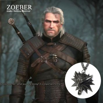 Zoeber Medallion Game Wolf Head Necklace Witcher 3 game red& black eyes Pendant Necklace for The Wild Hunt 3 Figure