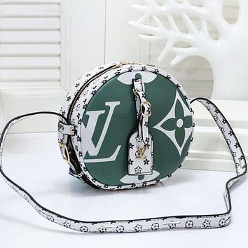 LV Louis Vuitton Women New Fashion Monogram Print Leather Round Shopping Leisure Crossbody Shoulder Bag Satchel Green