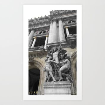 Paris Opera black and white with color GOLD Art Print by Mr Splash