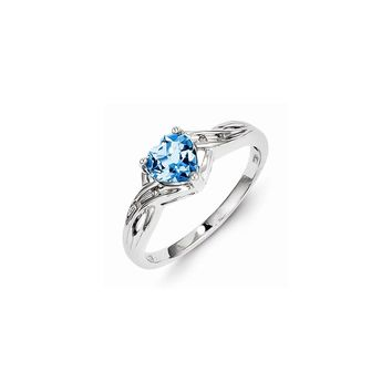Sterling Silver Rhodium Plated Diamond Lt Swiss Blue Topaz Heart Ring