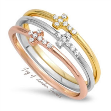 Rose Gold Yellow Gold 1.75TCW Round Cut Solitaire Russian Lab Diamond Cross  Ring